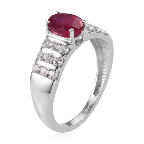 African Ruby and Natural Cambodian Zircon Ring in Platinum Overlay Sterling Silver 1.75 Ct.