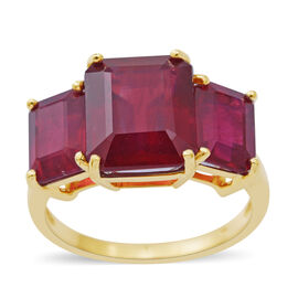 One Time Deal- 9K Yellow Gold AA African Ruby (Oct 6.80 Ct) 3 Stone Ring 11.500 Ct.