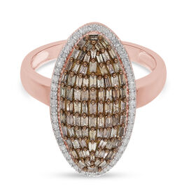 Champagne and Diamond Cluster Ring in Rose Gold Overlay Sterling Silver 1.00 Ct.