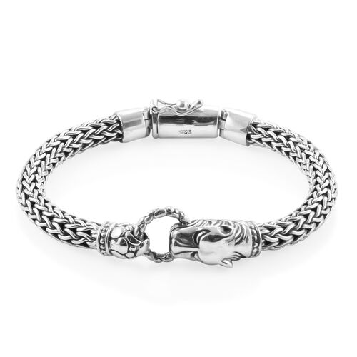 Royal Bali Collection Sterling Silver Panther Head Tulang Naga Bracelet (Size 7.25), Silver wt 55.46