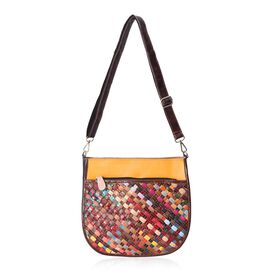 MOROCCO COLLECTION Hand Woven 100% Genuine Leather Multi Colour Cross Body Bag (Size 27x8x27 Cm) wit
