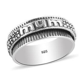 Sterling Silver MUM Embossed Ring, Sliver Wt. 4.97 Gms