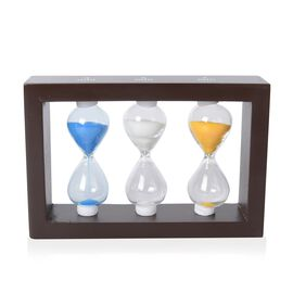 Home Decor - MDF Frame Hourglass 3,5 and 7 Min with Multi Colour Sand (Size 17x10x4 Cm) - Blue, Pink
