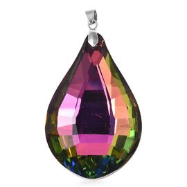 Simulated Mystic Topaz Drop Solitaire Pendant in Rhodium Plated Sterling Silver