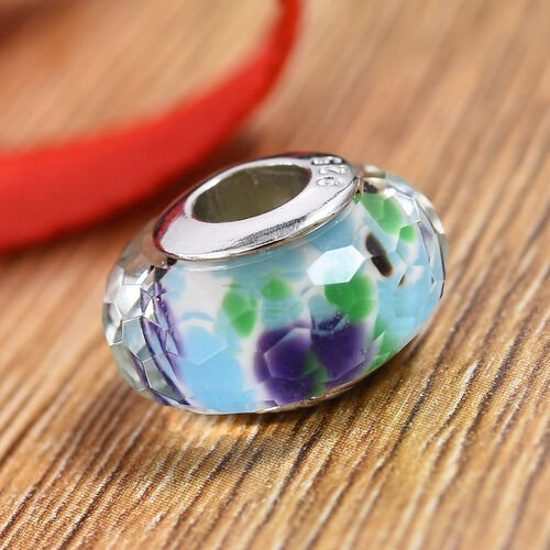 Charmes De Memoire Tropical Sea Murano Style Glass Bead Charm in Platinum Plated Sterling Silver