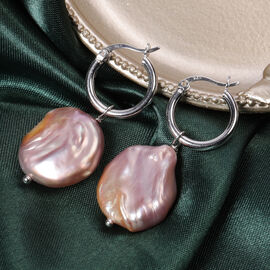 Purple Baroque Pearl Clasp Earrings in Rhodium Overlay Sterling Silver