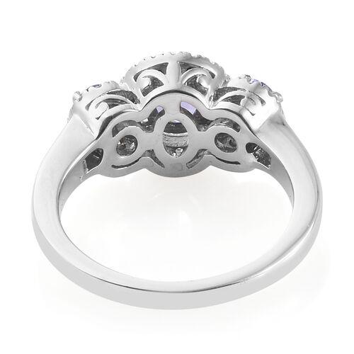 Tanzanite (Ovl), Natural Cambodian Zircon Three Stone Halo Ring in Platinum Overlay Sterling Silver 1.250 Ct.