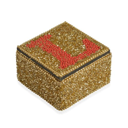 LOVE - Set of 4 - Handcrafted Golden and Red Beads Embellished Love Bling Box (Size 6.5X6.5X4 Cm)