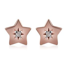 Natural Diamond (Rnd) Star Stud Earrings (with Push Back) in Rose Gold Overlay Sterling Silver
