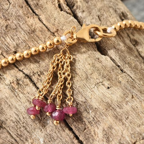 One Time Deal-African Ruby (Rnd) Bracelet (Size 7.5) with Lobster Lock in Yellow Gold Overlay Sterling Silver 1.000  Ct. Silver wt 4.00 Gms.