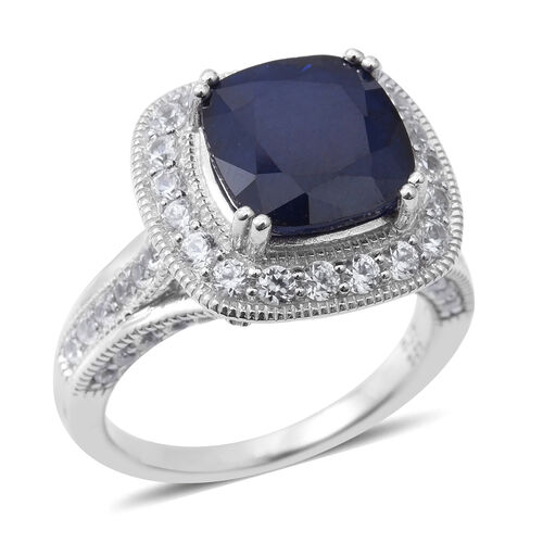 8.50 Ct Madagascar Blue Sapphire, Natural White Cambodian Zircon and Burmese Ruby Designer Ring in Rhodium Plated Silver 5.60 gms