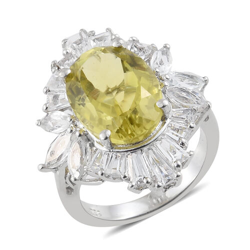 9 Carat Ouro Verde Quartz and White Topaz Halo Ring in Platinum Plated Sterling Silver