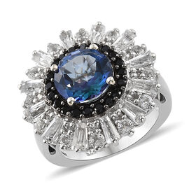 Neptune Garden Coated Topaz (Rnd 3.25 Ct), White Topaz and Boi Ploi Black Spinel Ring in Platinum Overlay Sterling Silver 6.250 Ct., Silver wt 6.14 Gms.