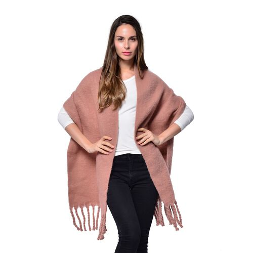 Pink Colour Scarf with Tassels (Size 200x47 Cm)