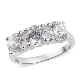 J Francis Sterling Silver (Rnd) Trilogy Ring Made with Swarovski Zirconia