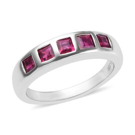 RHAPSODY 1 Carat Burmese Ruby 5 Stone Band Ring in 950 Platinum 6.56 Grams