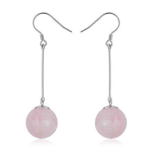 35 Ct Pink Morganite Dangle Hook Earrings in Rhodium Plated Sterling Silver