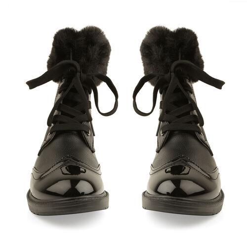 Warm Faux Fur Ankle Boots (Size 6) - Black