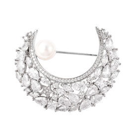 White Shell Pearl and Simulated Diamond Moon Brooch in Silver Tone