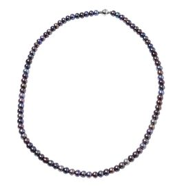 One Time Deal- Freshwater Peacock Pearl Necklace (Size 20) in Rhodium Overlay Sterling Silver