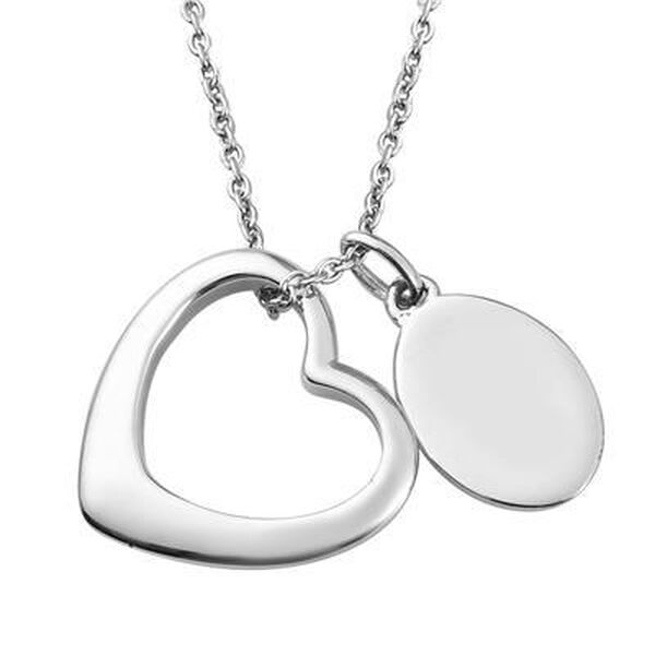Personalised Engravable Open Heart and Oval Disc Necklace in Silver