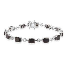 11 Carat Elite Shungite Station Bracelet in Platinum Plated Sterling Silver 7.75 Inch