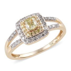 9K Yellow Gold Natural Yellow Diamond (Cush and Rnd), White Diamond Ring 0.500 Ct.