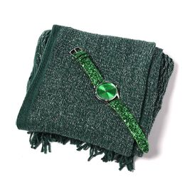 2 Piece Set- Green Colour Magic Scarf with Silver Threads (Size 170x20 Cm) and STRADA Japanese Movem