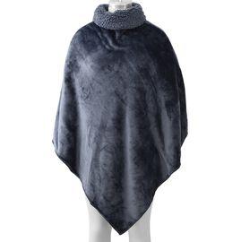 Ultra Soft Double Layer Flannel Sherpa Free Size Wrap (L-105 Cm) - Dark Grey