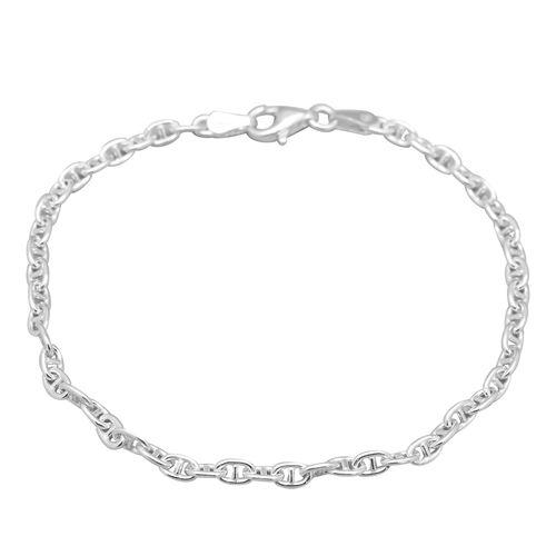 JCK Vegas Collection Mariner Bracelet in Platinum Plated Silver Size 7.25 Inch