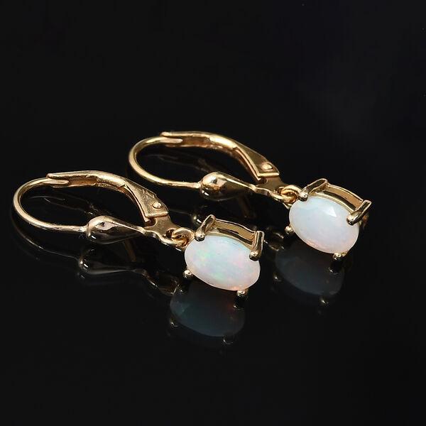 AA Ethiopian Welo Opal (Ovl) Lever Back Earrings in 14K Gold Overlay Sterling Silver 1.10 Ct.
