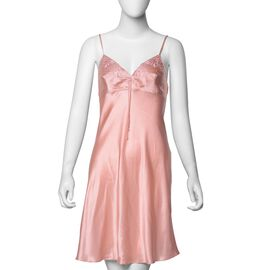 100% Mulberry Silk Chemise with Embroidery in Peach Pink Colour