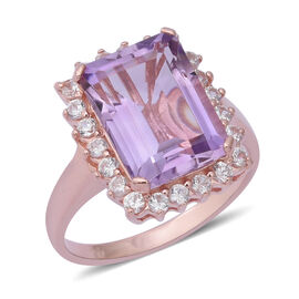 Rose De France Amethyst (Oct 7.10 Ct), Natural White Cambodian Zircon Ring in Rose Gold Overlay Ster