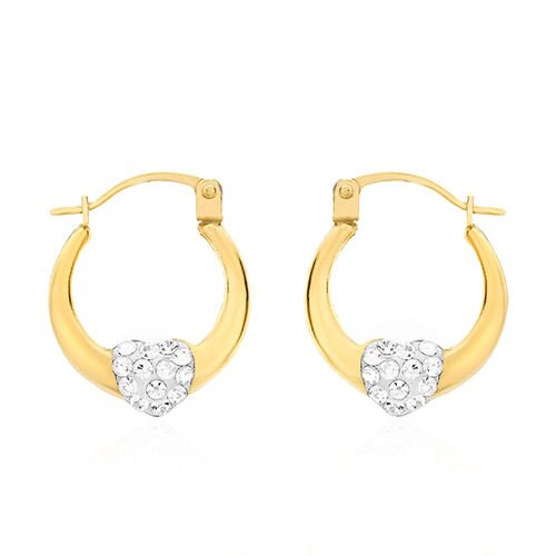 9K Yellow Gold Crystal Heart Creole Hoop Earrings (with Clasp Lock)