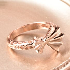 RACHEL GALLEY - Rose Gold Overlay Sterling Silver Latticework and Ginkgo Leaf Ring