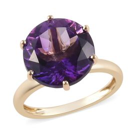6.35 Ct AAA Moroccan Amethyst Solitaire Ring in 9K Yellow Gold 2.12 Grams