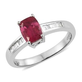 RHAPSODY 1.7 Ct Rare Ouro Fino Rubelite and Diamond Ring in Platinum 5.54 grams