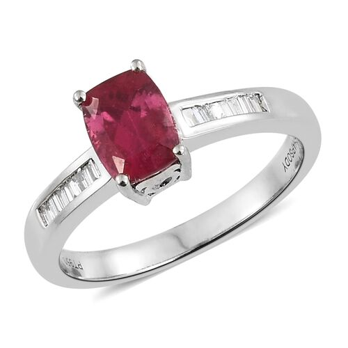 RHAPSODY 950 Platinum AAAA Ouro Fino Rubelite (Cush 1.50 Ct), Diamond Ring 1.700 Ct.