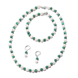 3 Piece Set - Simulated Malachite and White Freshwater Pearl Beads Necklace (Size 18), Bracelet (Siz