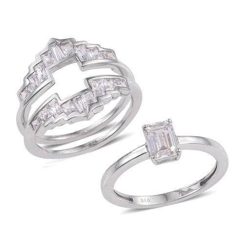 J Francis - Platinum Overlay Sterling Silver (Oct) 2 Ring Set Made with SWAROVSKI ZIRCONIA