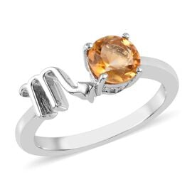AA Citrine Zodiac-Scorpio Ring in Platinum Overlay Sterling Silver 0.75 Ct.
