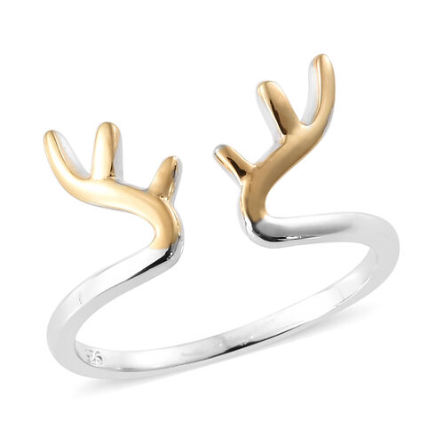 Platinum and Yellow Gold Overlay Sterling Silver Stag Antler 2 Tone Stacker Ring