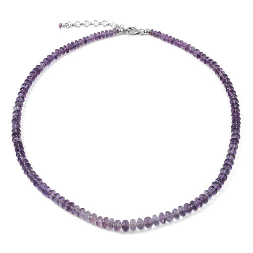 Natural Rare Purple Fluorite Necklace (Size 18 with 2 inch Extender) in Platinum Overlay Sterling Silver 116.000 Ct.