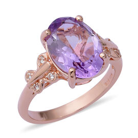 5.30 Ct Rose De France Amethyst and Zircon Solitaire Design Ring in Rose Gold Plated Silver