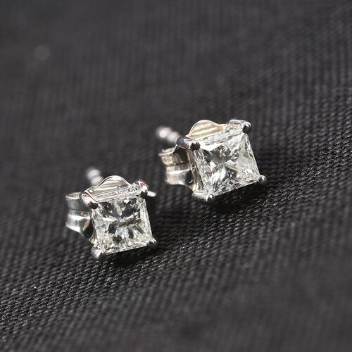 9K White Gold SGL Certified White Diamond (I1-I2/I-J) Solitaire Stud Earrings (with Push Back) 0.25 Ct.