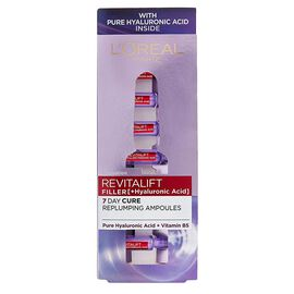Loreal: 7 Day Cure Replumping Ampoules (Pure Hyaluronic Acid +Vitamin B5 - 7x1.3ML