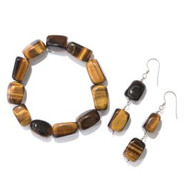 Tigers Eye Stretchable Bracelet (Size 7.50) and Hook Earrings in Platinum Overlay Sterling Silver 285.000 Ct.