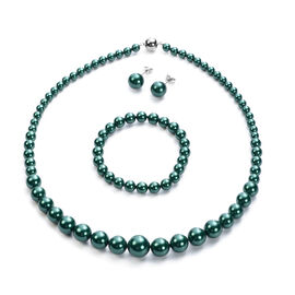 3 Piece Set - Russian Diopside Colour Shell Pearl Stretchable Bracelet (Size 7), Necklace (Size 20 w
