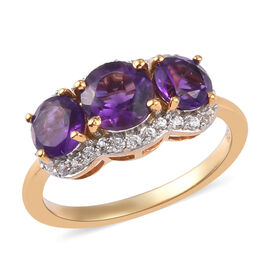 Amethyst and Natural Cambodian Zircon Ring in 14K Gold Overlay Sterling Silver 2.10 Ct.