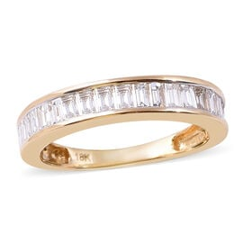 ILIANA 18K Yellow Gold IGI Certified Diamond (Bgt) (SI/G-H) Eternity Band Ring 1.00 Ct.